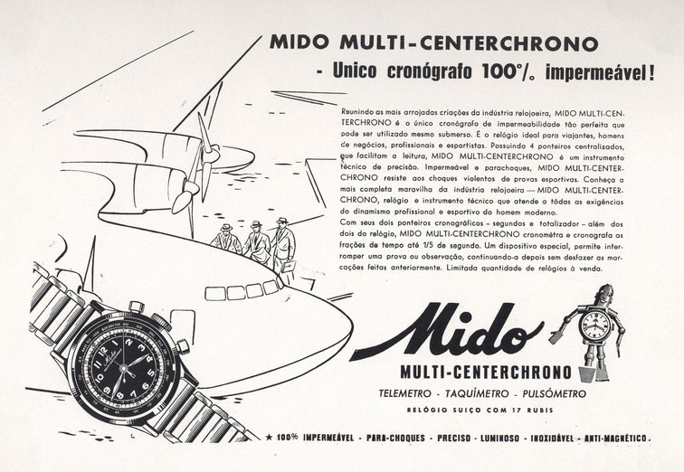 Mido multi-centre chrono advert 1930s