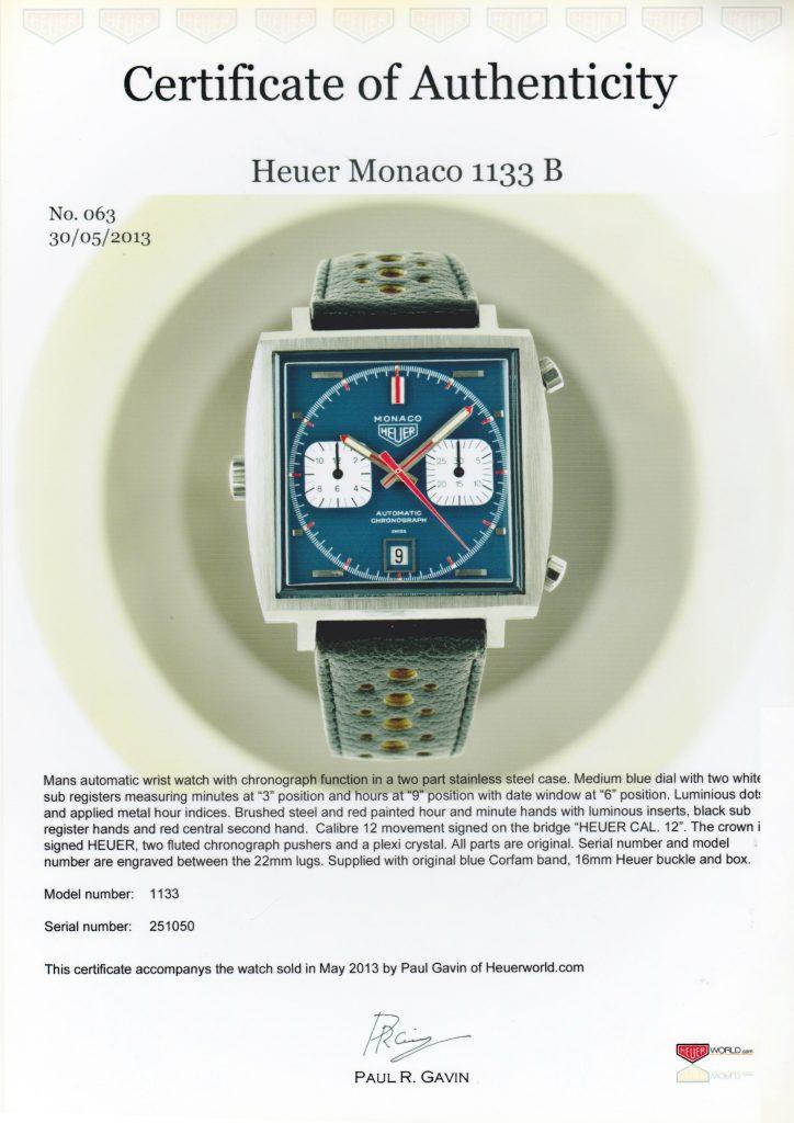 1969 Heuer Monaco 1133B Watch certificate