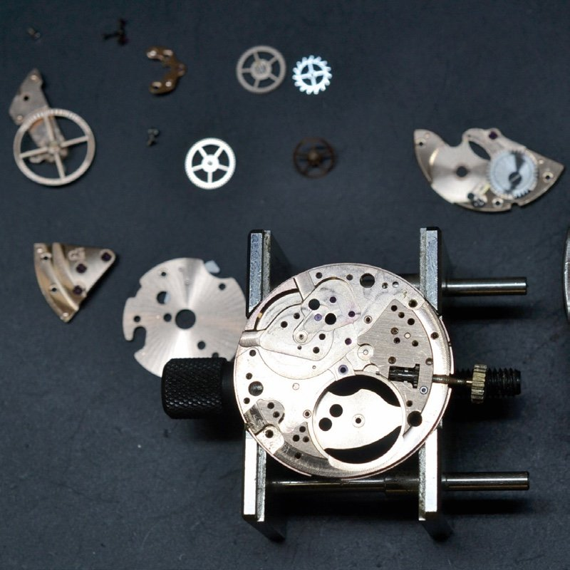 Watch repair and servicing cleaned components